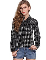 cheap -Women's Holiday Going out Cute Active Street chic All Seasons Blouse,Polka Dot V Neck Long Sleeve Polyester Medium