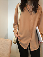 Women's Daily Active Shirt,Solid Shirt Collar Long Sleeves Polyester