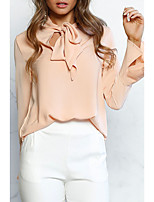 Women's Going out Street chic Blouse,Solid Round Neck Long Sleeves Polyester Nylon