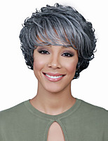Women Synthetic Wig Capless Short Wavy Grey Side Part African American Wig Highlighted/Balayage Hair Layered Haircut With Bangs Cosplay