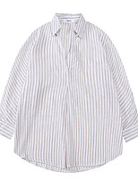 Women's Daily Going out Street chic Shirt,Striped Shirt Collar Long Sleeves Cotton