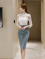 Mujer Bonito Fiesta Primavera/Otoño Camiseta Falda Trajes,Joya Un Color Mangas largas Poliéster Encaje Microelástico
