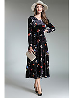 Women's Party Boho Shift Sheath Dress,Print V Neck Maxi Long Sleeve Polyester Fall Mid Rise Inelastic Opaque