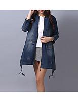 economico -Impermeabile Da donna Casual Semplice Inverno Autunno,Tinta unita Colletto Cotone Standard Maniche lunghe Oversized