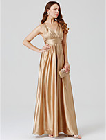 A-Line Princess V-neck Floor Length Charmeuse Formal Evening Dress with Pleats by TS Couture®