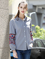 cheap -Women's Daily Street chic Shirt,Striped Embroidery Shirt Collar Long Sleeves Cotton