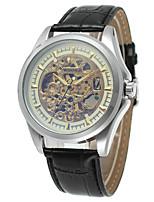 abordables -WINNER Hombre Reloj Casual Reloj de Moda Reloj de Pulsera Cuerda Automática Huecograbado Acero Inoxidable Banda Vintage Casual Plata