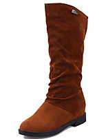 cheap -Women's Shoes Nubuck leather Spring Fall Comfort Fashion Boots Boots For Casual Dark Brown Red Black