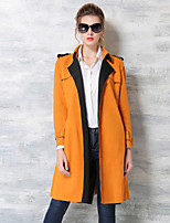 Women's Daily Going out Simple Casual Street chic Sophisticated Winter Fall Trench Coat,Solid Shirt Collar Long Sleeves Long Polyester