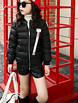 Girls' Solid Down & Cotton Padded Long Sleeves Black Red Yellow