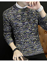 Men's Daily Going out Long Pullover,Print Round Neck Long Sleeves Polyester Winter Fall/Autumn Thick Micro-elastic