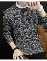 Для мужчин На выход На каждый день Длинный Пуловер С принтом,Круглый вырез Длинный рукав Полиэстер Зима Осень Толстая Слабоэластичная