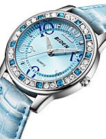Недорогие -Жен. Повседневные часы Модные часы Наручные часы Китайский Кварцевый Повседневные часы Кожа Группа На каждый день Elegant Белый Синий