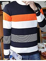 Men's Daily Casual Short Pullover,Striped Color Block Round Neck Long Sleeve Cotton Winter Autumn Medium strenchy