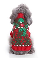cheap -Cat Dog Sweaters Dog Clothes Casual/Daily Chrismas Color Block New Year's Color Block Red Costume For Pets