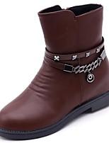 preiswerte -Damen Schuhe PU Winter Herbst Leuchtende Sohlen Stiefel Runde Zehe Booties / Stiefeletten Für Normal Schwarz Hellbraun