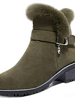 cheap -Women's Shoes Nubuck leather Winter Combat Boots Boots Round Toe For Outdoor Green Black