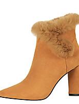 preiswerte -Damen Schuhe Kunstleder Winter Herbst Komfort Stiefel Booties / Stiefeletten Für Kleid Schwarz Kamel