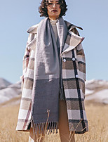 Women's Daily Going out Street chic Winter Fall Trench Coat,Plaid Peter Pan Collar Long Sleeves Long Polyester
