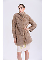 BF-Fur Style Women's Going out Simple Casual Winter Fur Coat,Solid Long Sleeves Long Fox Fur