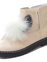 preiswerte -Damen Schuhe PU Winter Komfort Modische Stiefel Stiefel Runde Zehe Booties / Stiefeletten Für Normal Weiß Schwarz
