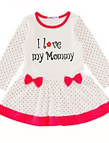 Girl's Birthday Causal Dots Love Quotes & Sayings Dress,Cotton Long Sleeves
