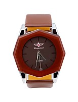 Men's Women's Casual Watch Chinese Quartz Leather Band Cool Black White Brown