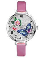 Women's Wrist watch Chinese Quartz Large Dial PU Band Flower Casual Elegant Colorful Black White Blue Red Brown Pink Purple Rose Sky Blue