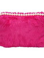 Women Bags All Season Fur Clutch Pearl Detailing for Event/Party Casual White Black Red Blushing Pink Brown
