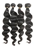 Недорогие -Натуральные волосы Реми Бразильские волосы Человека ткет Волосы Свободные волны Наращивание волос 4 Черный