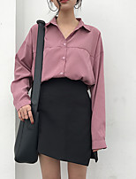 cheap -Women's Casual/Daily Street chic Shirt,Solid Shirt Collar Long Sleeves Polyester