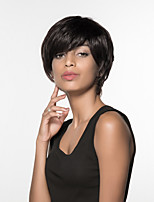 Women Human Hair Capless Wigs Beige Blonde//Bleach Blonde Medium Auburn Black Short Straight Side Part
