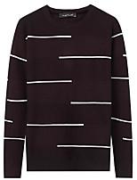 Для мужчин На каждый день Простой Обычный Пуловер Однотонный С принтом,Круглый вырез Длинный рукав Полиэстер Зима Осень Толстая