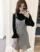Women's Daily Casual Winter Sweater Dress Suits,Solid Round Neck Long Sleeves Nylon