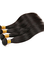 cheap -Remy Brazilian Natural Color Hair Weaves Straight Hair Extensions Four-piece Suit Black