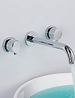Contemporary Widespread Wall Mount High Quality with  Brass Valve Two Handles Three Holes for  Chrome , Bathroom Sink Faucet