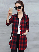 cheap -Women's Daily Street chic Shirt,Check Shirt Collar Long Sleeves Cotton