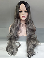 cheap -Women Synthetic Wig Capless Long Body Wave Black/Grey Side Part Ombre Hair Dark Roots Cosplay Wig Costume Wig