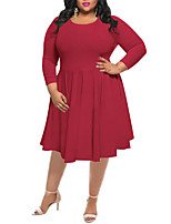Women's Plus Size Casual/Daily Simple Street chic Sheath DressSolid Round Neck Midi Long Sleeves Polyester Spring Fall High Rise