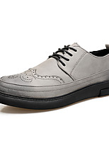 Men's Shoes Leather All Season Comfort Sneakers Applique For Casual Gray Black