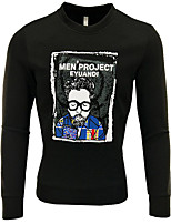 cheap -Men's Daily Sweatshirt Print Cotton Long Sleeves