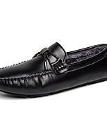 Men's Shoes Cowhide Fall Winter Fluff Lining Comfort Loafers & Slip-Ons Chain For Casual Party & Evening Red Black