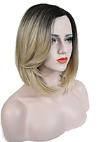 Women Synthetic Wig L Part Medium Length Straight Blonde Ombre Hair Dark Roots Bob Haircut Celebrity Wig Natural Wigs Costume Wig