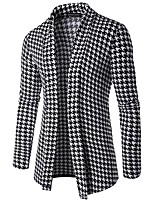 cheap -Men's Daily Casual Active Regular Cardigan,Houndstooth Shirt Collar Long Sleeves Japanese Cotton Winter Fall Thick Micro-elastic