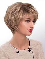 cheap -Women Human Hair Capless Wigs Medium Auburn/Bleach Blonde Medium Auburn Black Short Straight Side Part