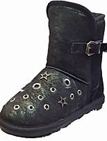 preiswerte -Damen Schuhe PU Winter Komfort Springerstiefel Pelzfutter Stiefel Runde Zehe Booties / Stiefeletten Für Normal Weiß Schwarz Grau