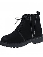 cheap -Women's Shoes PU Winter Comfort Boots Round Toe For Casual Khaki Black