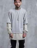 cheap -Men's Going out Sweatshirt Striped Cotton