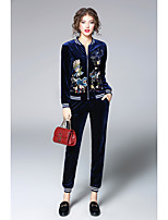 Women's Sports & Outdoor Daily Vintage Spring/Fall Set Pant Suits