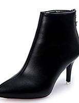 preiswerte -Damen Schuhe PU Herbst Modische Stiefel Stiefel Spitze Zehe Mittelhohe Stiefel Für Normal Schwarz Rot